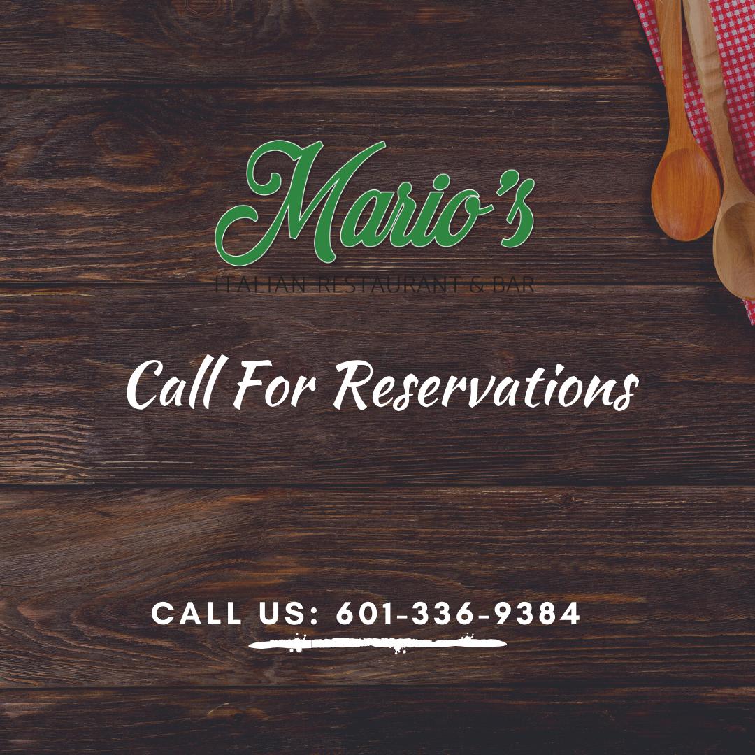flyer for reservations at Mario's Italian Restaurant in Hattiesburg, MS